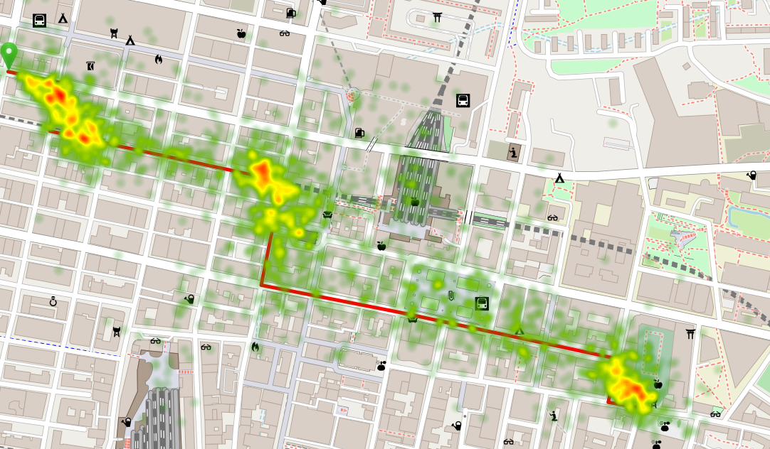 Heat map of accumulative fixations on a map in a route memory task